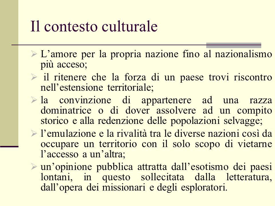 Il contesto culturale L'amore per la propria nazione fino al nazionalismo più acceso;