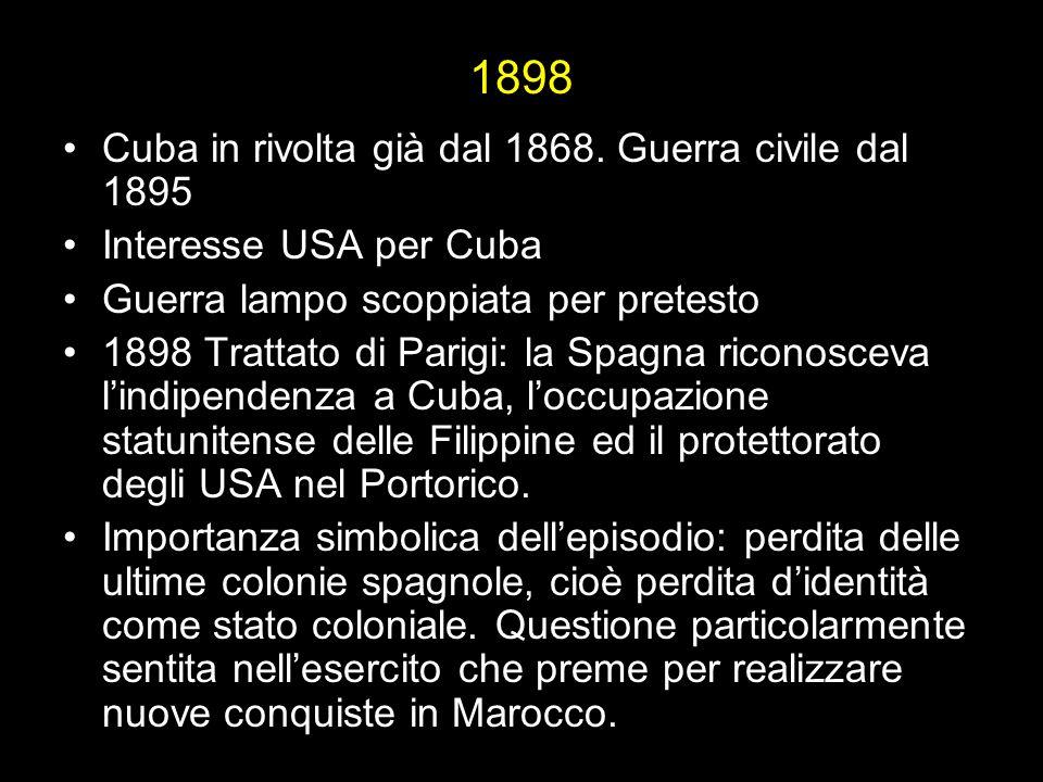 1898 Cuba in rivolta già dal 1868. Guerra civile dal 1895
