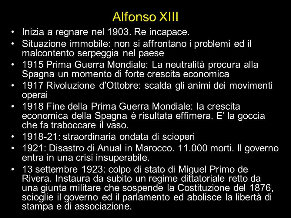Alfonso XIII Inizia a regnare nel 1903. Re incapace.