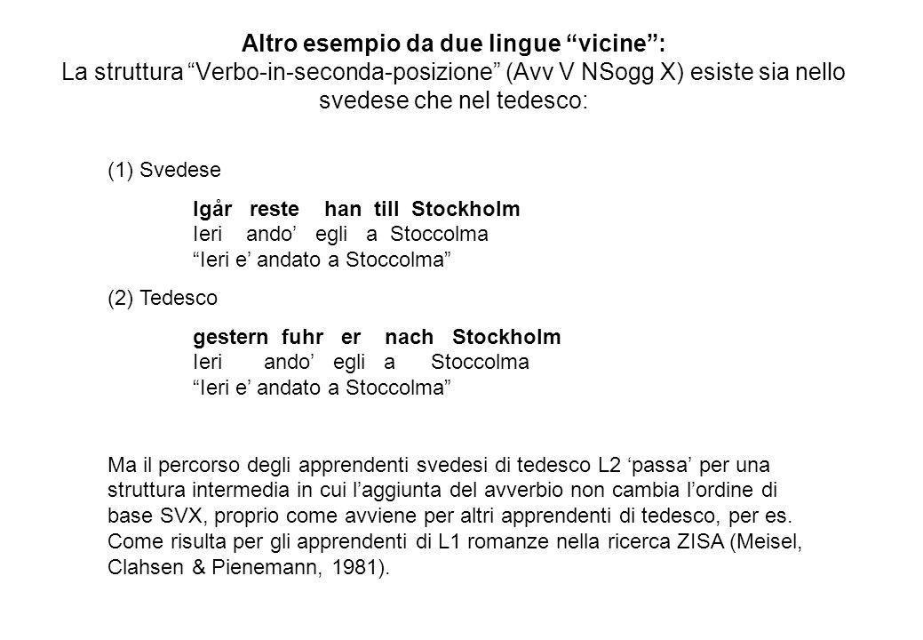 Altro esempio da due lingue vicine : La struttura Verbo-in-seconda-posizione (Avv V NSogg X) esiste sia nello svedese che nel tedesco: