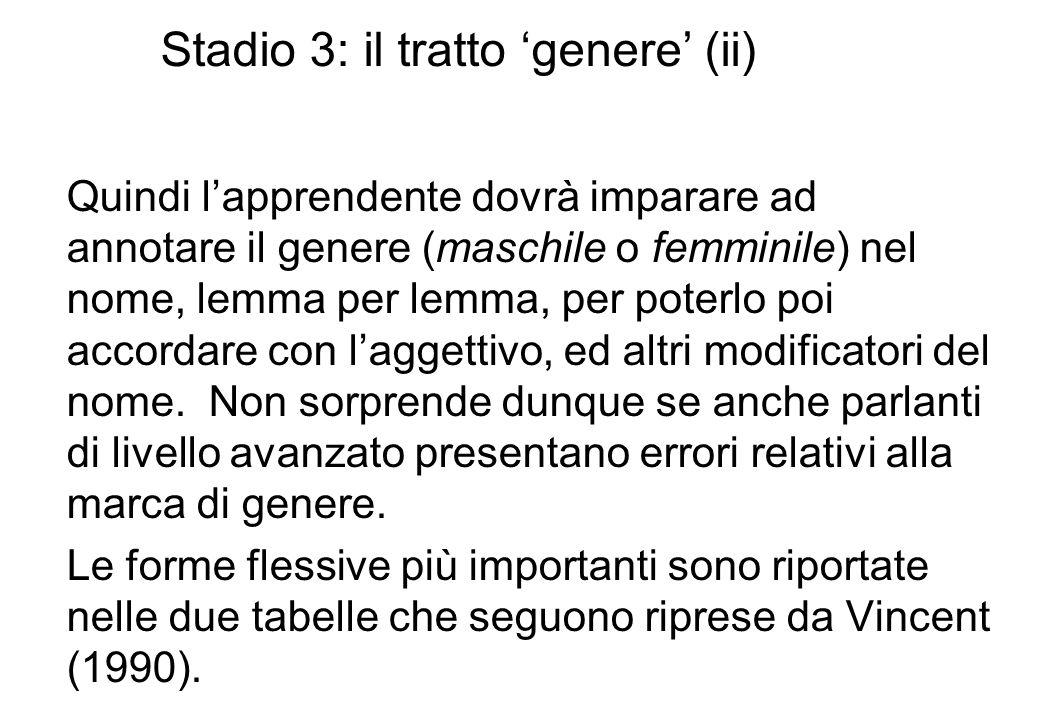 Stadio 3: il tratto 'genere' (ii)