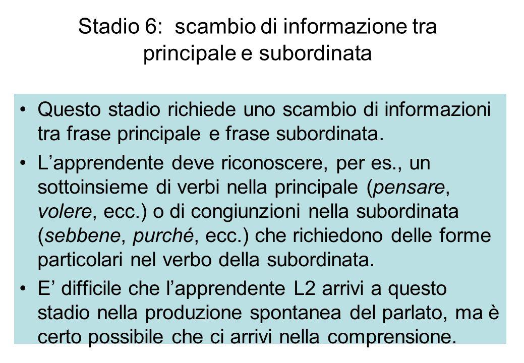 Stadio 6: scambio di informazione tra principale e subordinata