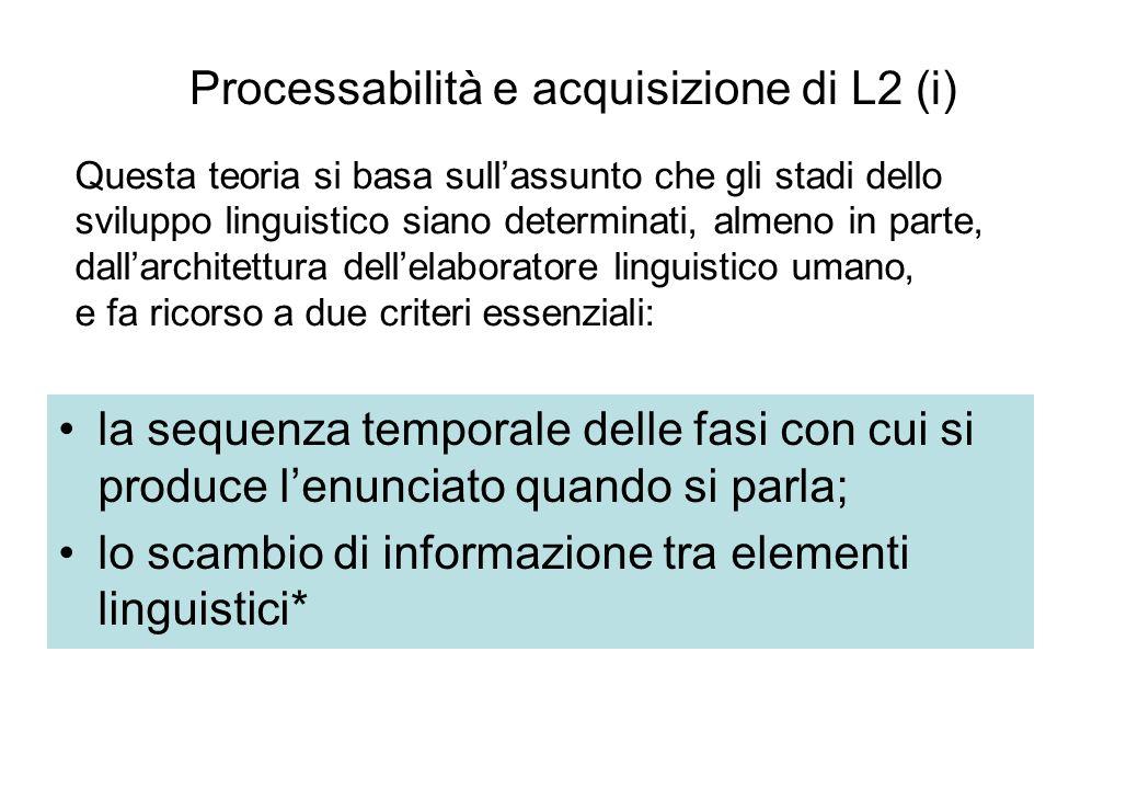 Processabilità e acquisizione di L2 (i)