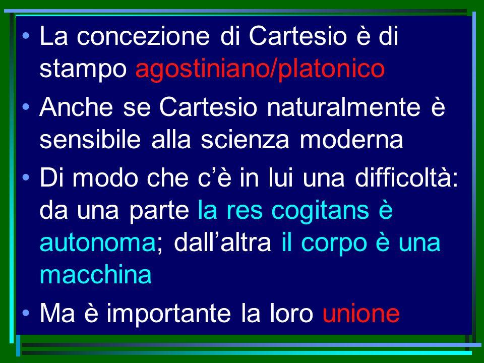 La concezione di Cartesio è di stampo agostiniano/platonico