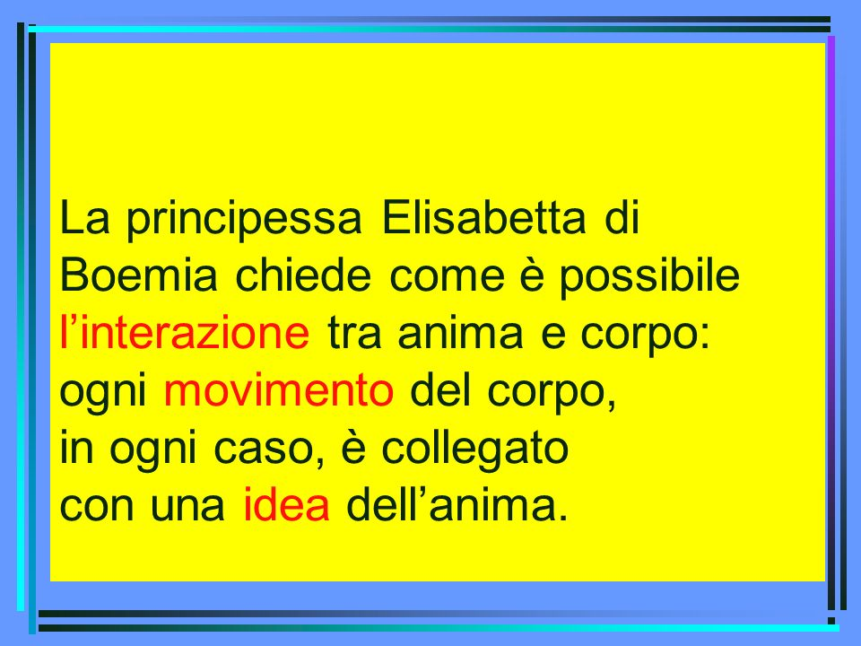 La principessa Elisabetta di Boemia chiede come è possibile l'interazione tra anima e corpo: ogni movimento del corpo, in ogni caso, è collegato con una idea dell'anima.