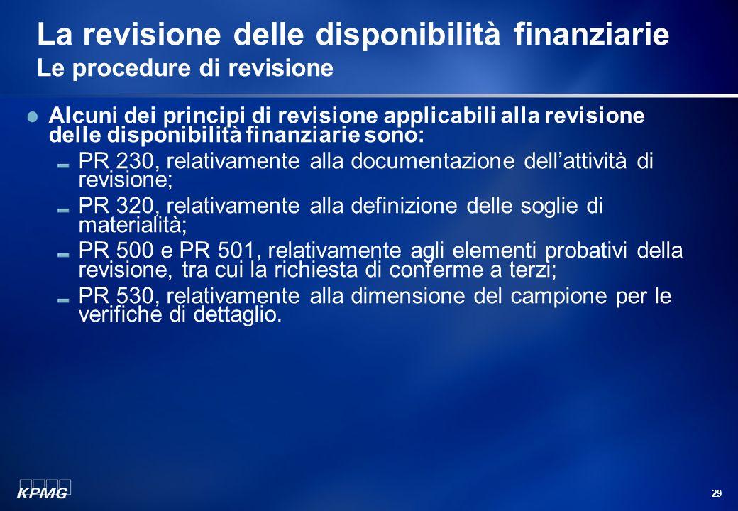 La revisione delle disponibilità finanziarie Le procedure di revisione
