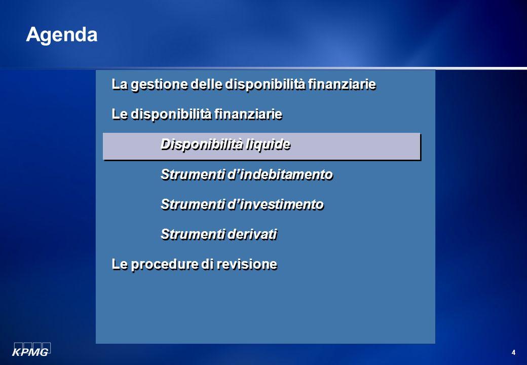 Agenda La gestione delle disponibilità finanziarie