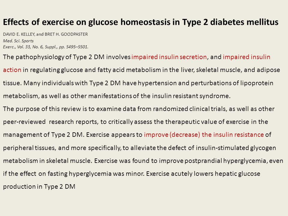 Effects of exercise on glucose homeostasis in Type 2 diabetes mellitus