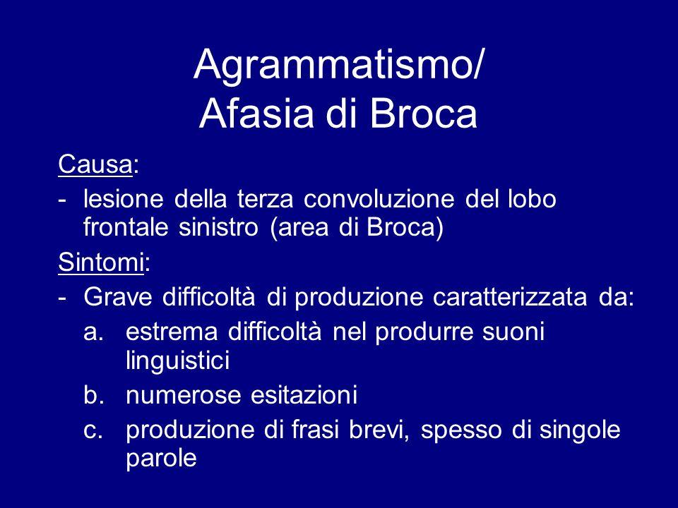 Agrammatismo/ Afasia di Broca