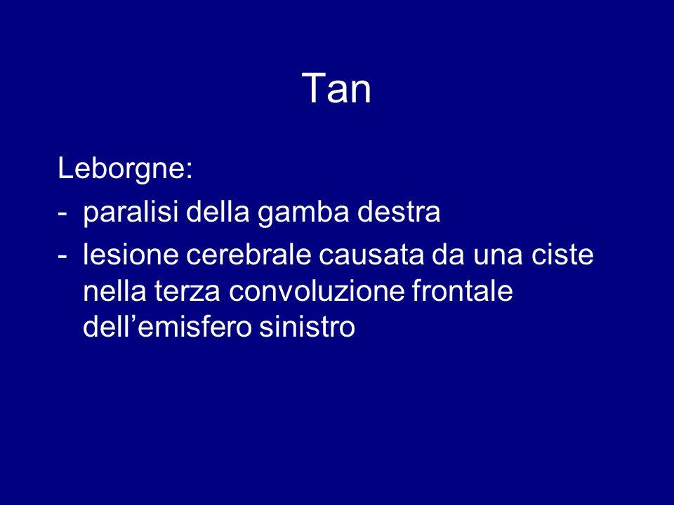 Tan Leborgne: - paralisi della gamba destra