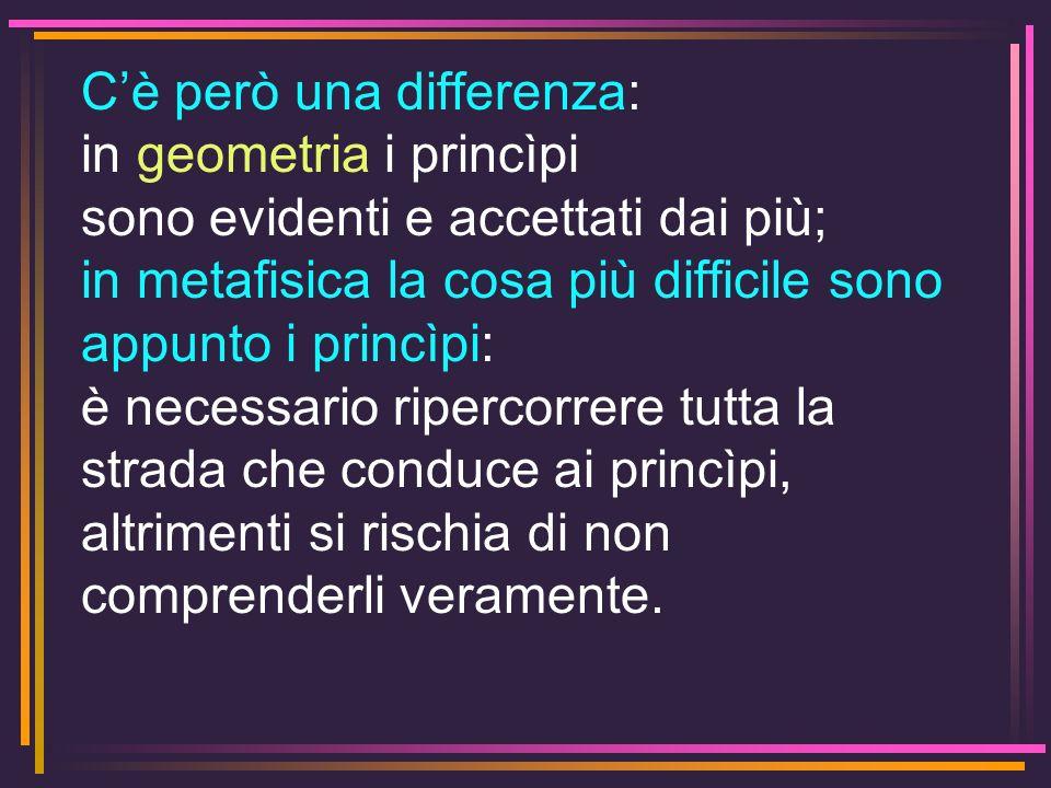 C'è però una differenza: in geometria i princìpi sono evidenti e accettati dai più;