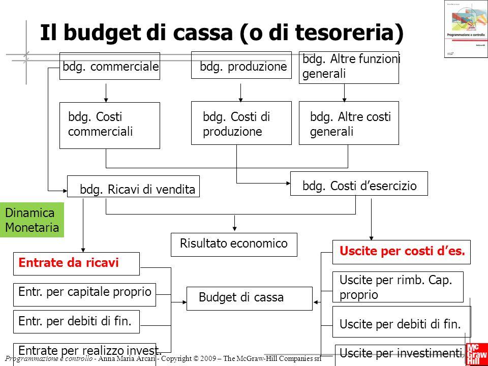 Il budget di cassa (o di tesoreria)