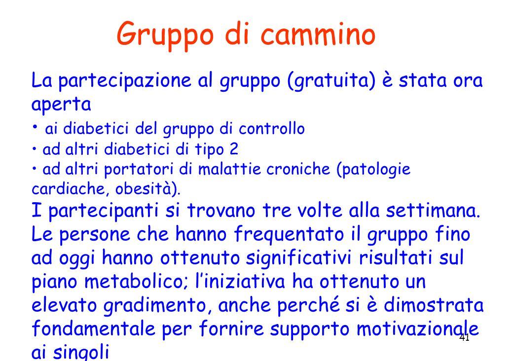 Gruppo di cammino La partecipazione al gruppo (gratuita) è stata ora aperta. ai diabetici del gruppo di controllo.