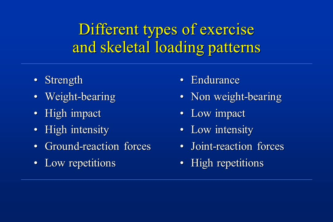 Different types of exercise and skeletal loading patterns