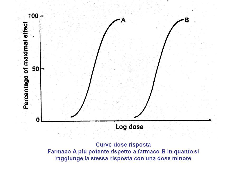 Curve dose-risposta Farmaco A più potente rispetto a farmaco B in quanto si raggiunge la stessa risposta con una dose minore.