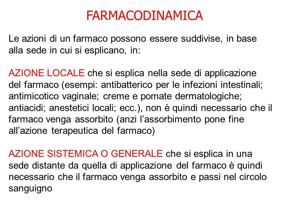 FARMACODINAMICA Le azioni di un farmaco possono essere suddivise, in base alla sede in cui si esplicano, in: