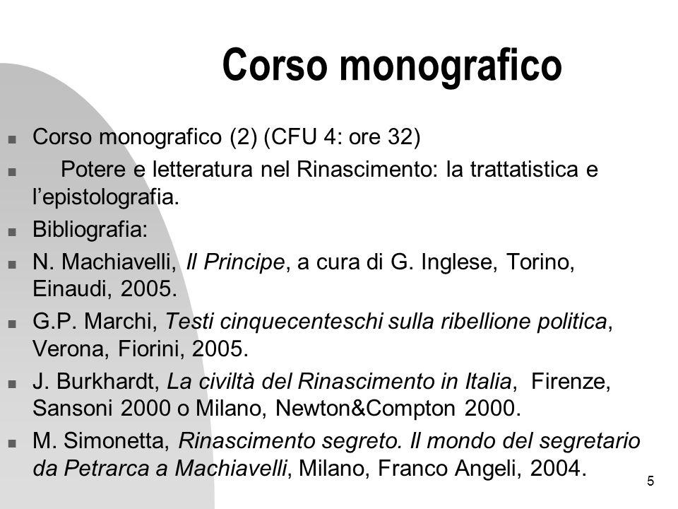 Corso monografico Corso monografico (2) (CFU 4: ore 32)