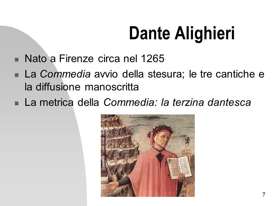Dante Alighieri Nato a Firenze circa nel 1265