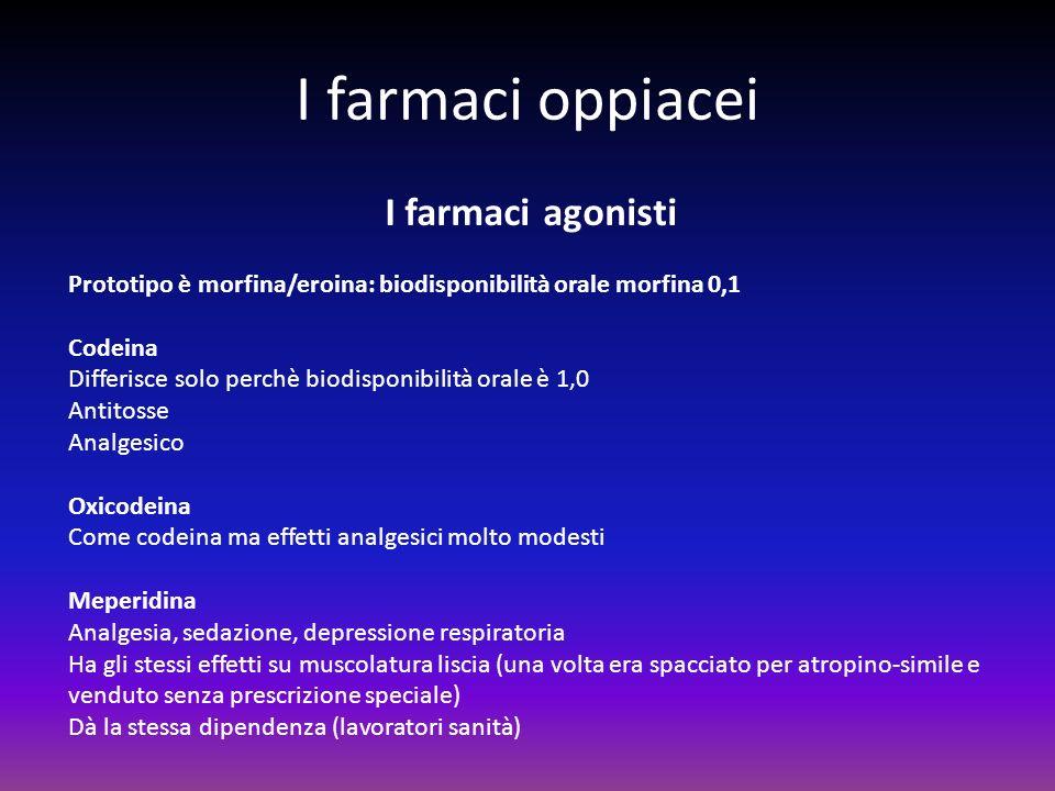 I farmaci oppiacei I farmaci agonisti