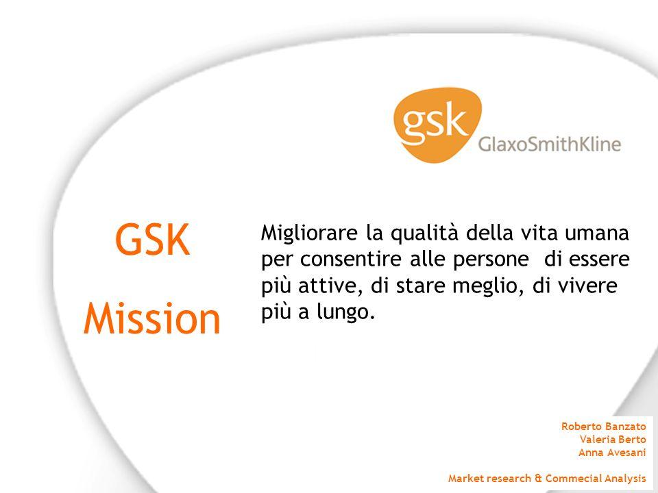GSK Mission. Migliorare la qualità della vita umana per consentire alle persone di essere più attive, di stare meglio, di vivere più a lungo.
