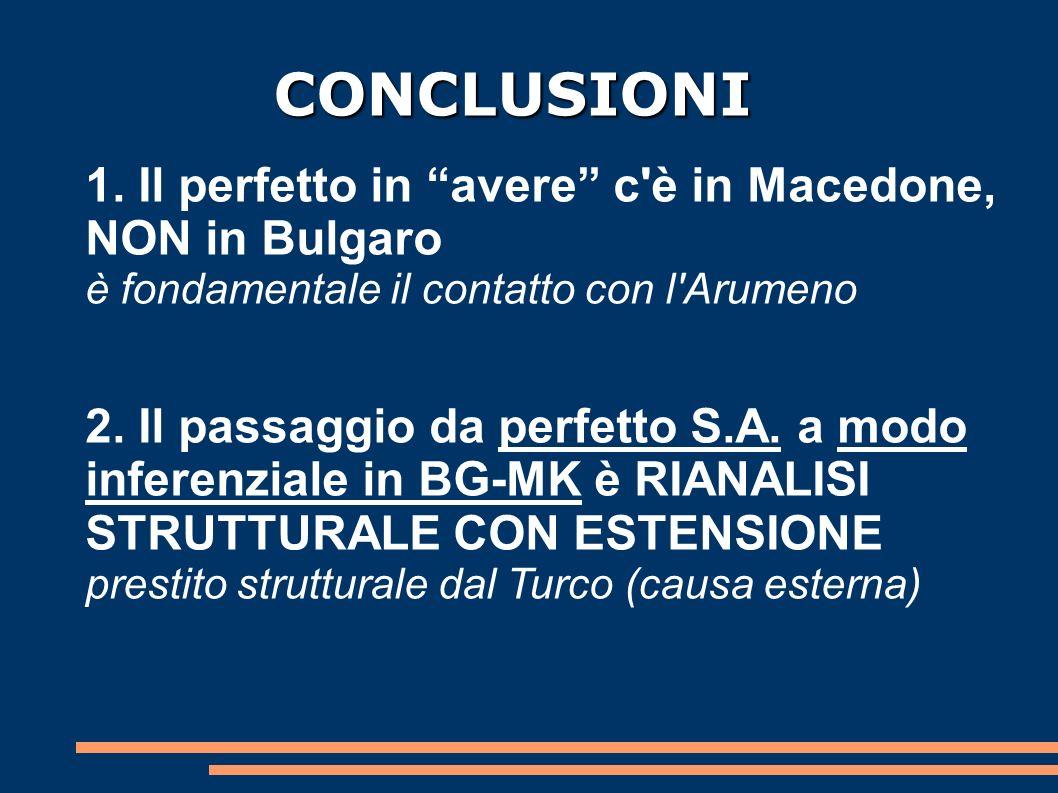 CONCLUSIONI 1. Il perfetto in avere c è in Macedone, NON in Bulgaro