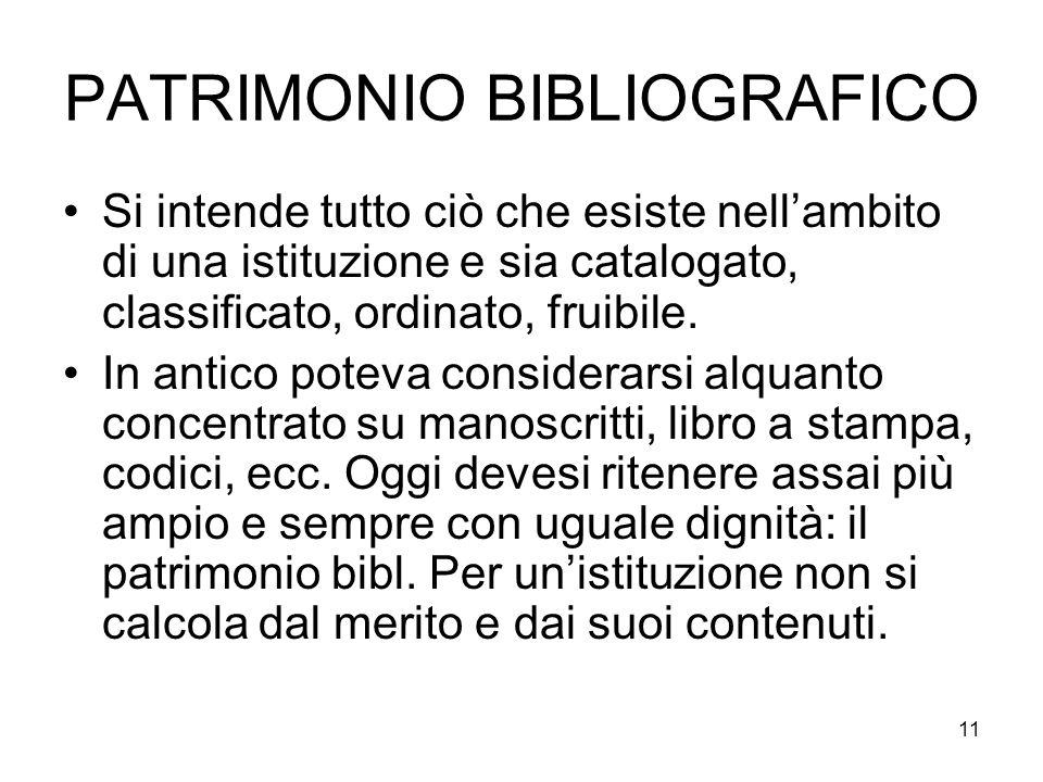 PATRIMONIO BIBLIOGRAFICO