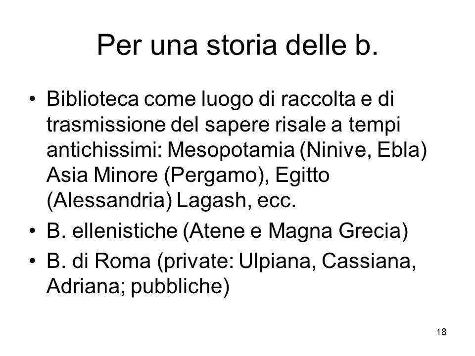 Per una storia delle b.