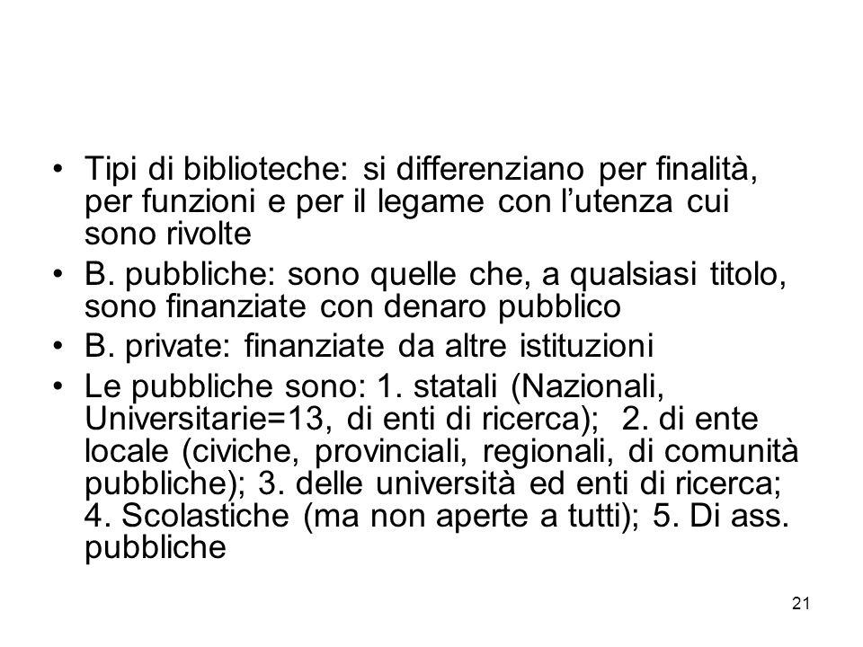 Tipi di biblioteche: si differenziano per finalità, per funzioni e per il legame con l'utenza cui sono rivolte