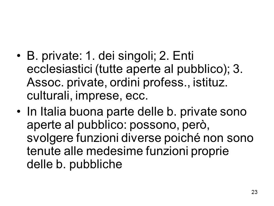 B. private: 1. dei singoli; 2