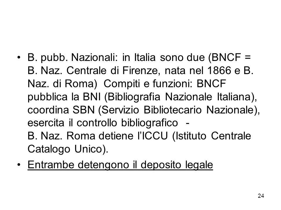 B. pubb. Nazionali: in Italia sono due (BNCF = B. Naz