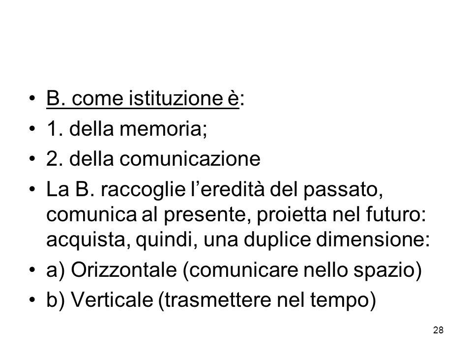 B. come istituzione è: 1. della memoria; 2. della comunicazione.