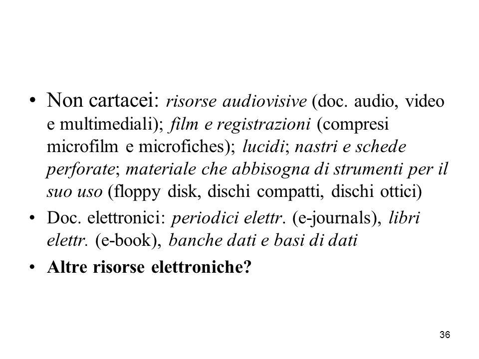 Non cartacei: risorse audiovisive (doc