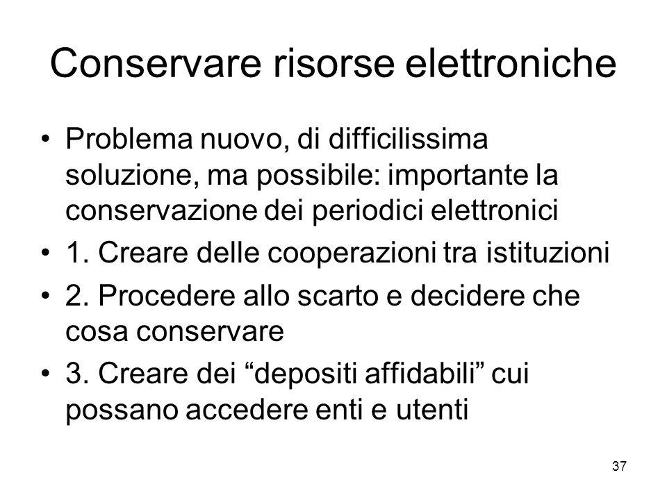 Conservare risorse elettroniche