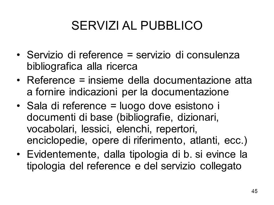 SERVIZI AL PUBBLICO Servizio di reference = servizio di consulenza bibliografica alla ricerca.