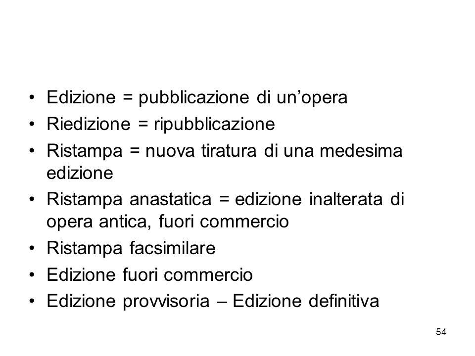 Edizione = pubblicazione di un'opera