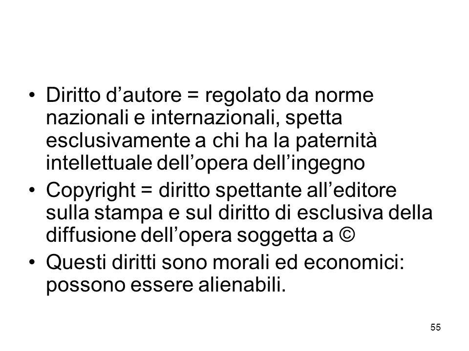 Diritto d'autore = regolato da norme nazionali e internazionali, spetta esclusivamente a chi ha la paternità intellettuale dell'opera dell'ingegno