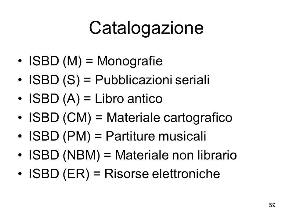 Catalogazione ISBD (M) = Monografie ISBD (S) = Pubblicazioni seriali