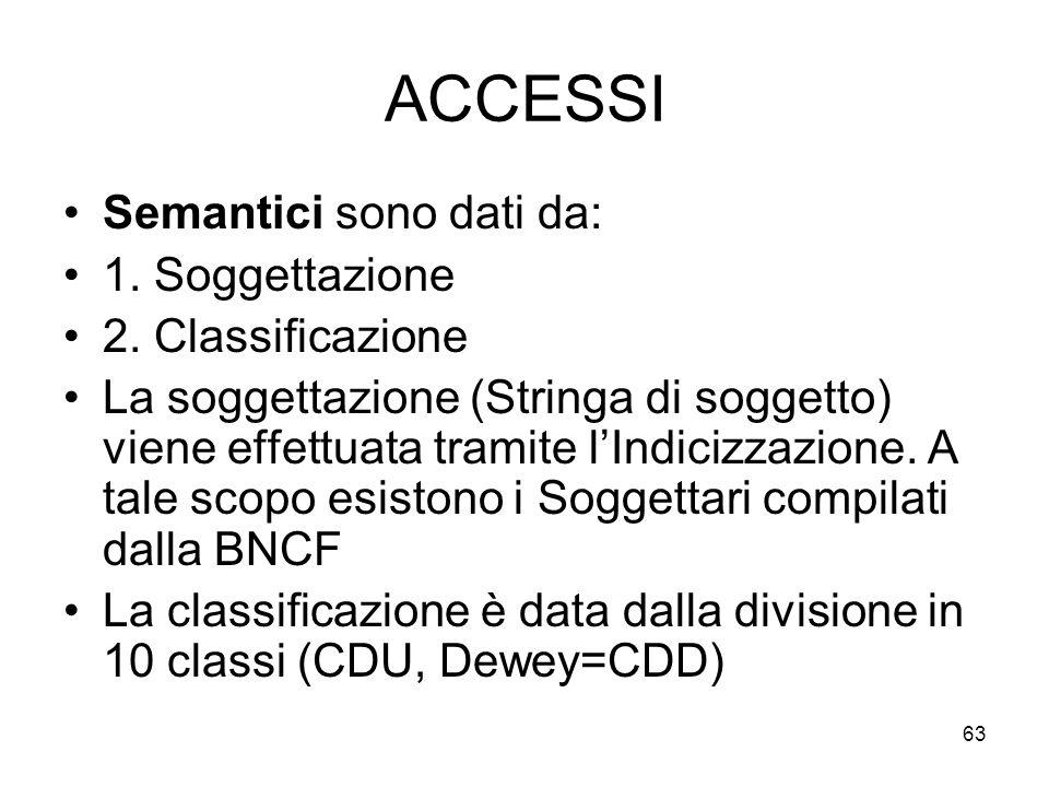 ACCESSI Semantici sono dati da: 1. Soggettazione 2. Classificazione