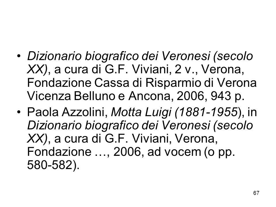 Dizionario biografico dei Veronesi (secolo XX), a cura di G. F