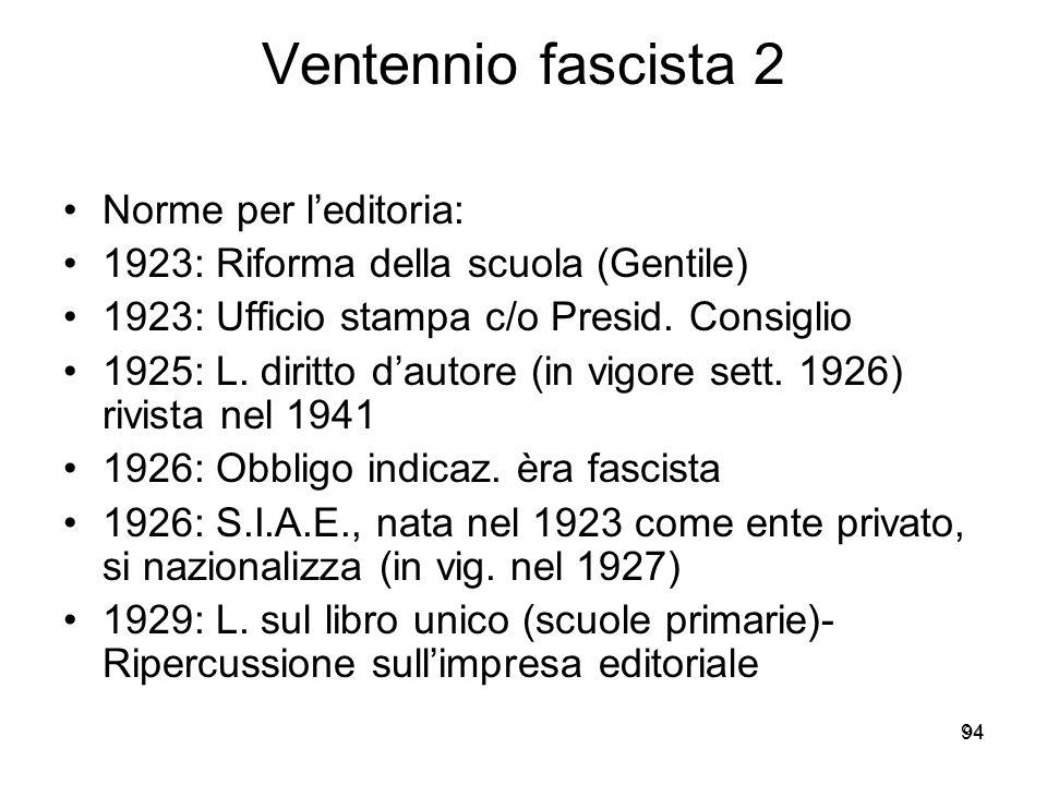 Ventennio fascista 2 Norme per l'editoria: