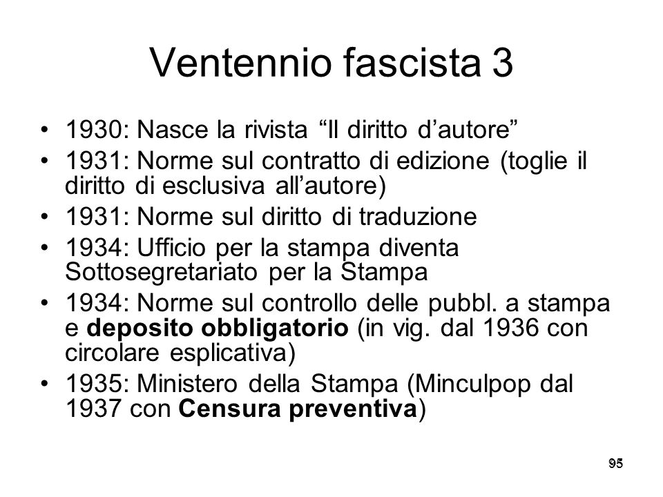 Ventennio fascista 3 1930: Nasce la rivista Il diritto d'autore