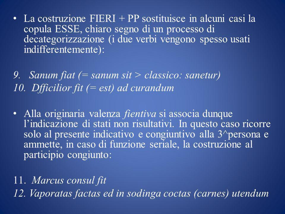 La costruzione FIERI + PP sostituisce in alcuni casi la copula ESSE, chiaro segno di un processo di decategorizzazione (i due verbi vengono spesso usati indifferentemente):