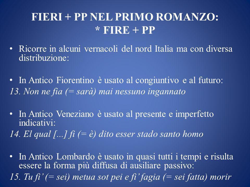 FIERI + PP NEL PRIMO ROMANZO: * FIRE + PP