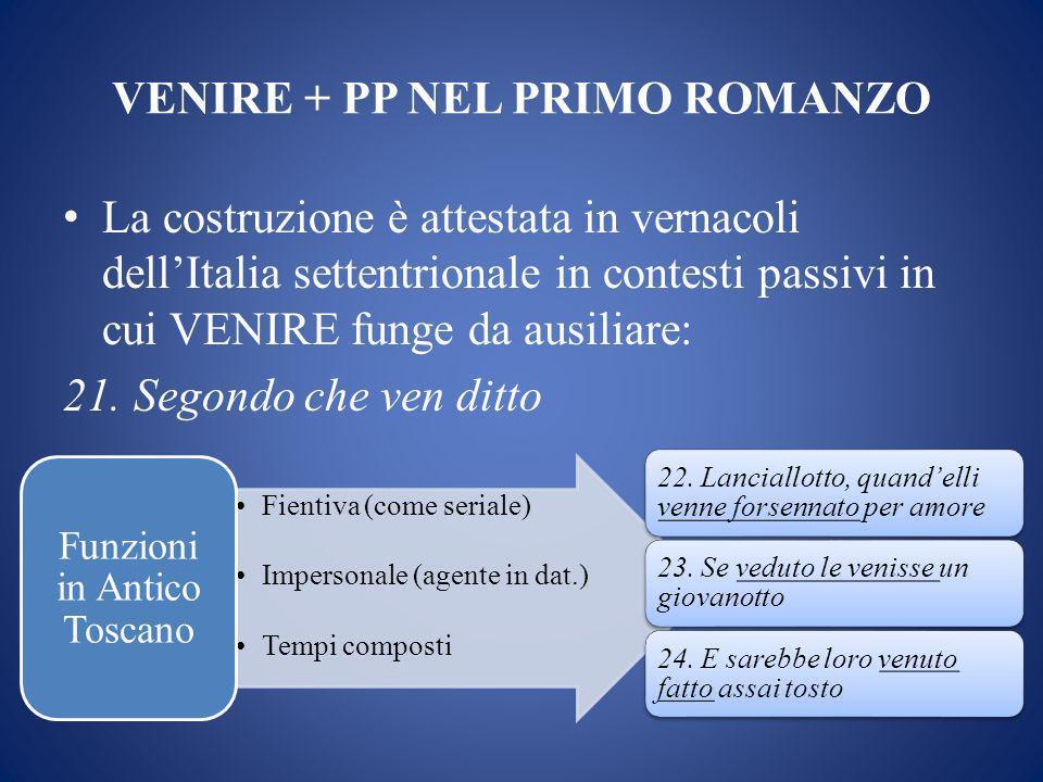 VENIRE + PP NEL PRIMO ROMANZO