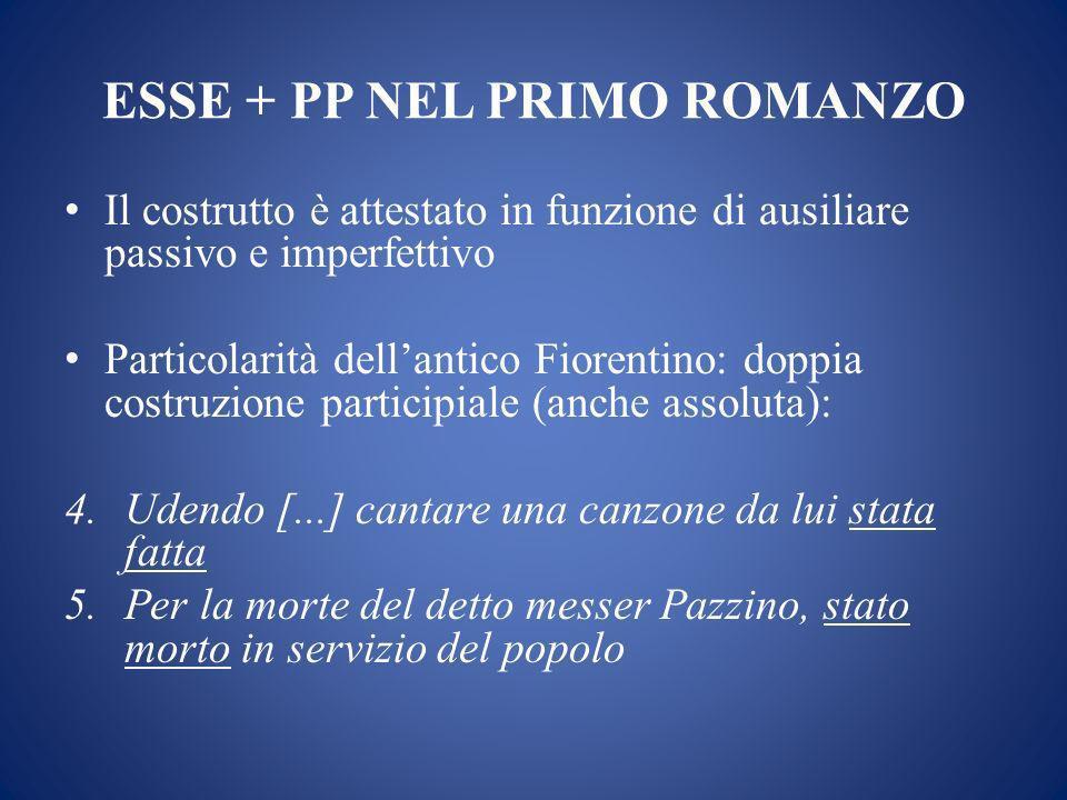 ESSE + PP NEL PRIMO ROMANZO