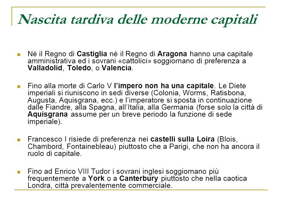 Nascita tardiva delle moderne capitali