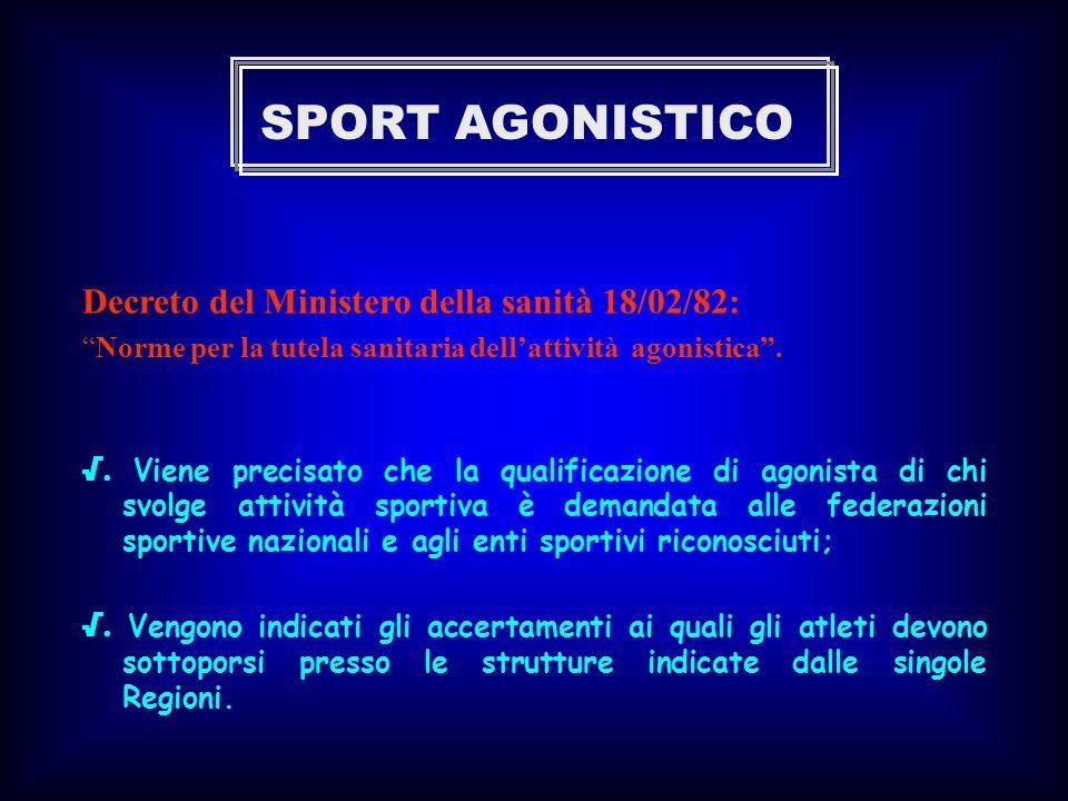 SPORT AGONISTICO Decreto del Ministero della sanità 18/02/82: