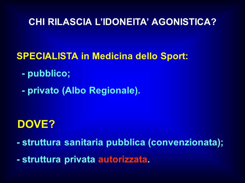 DOVE CHI RILASCIA L'IDONEITA' AGONISTICA
