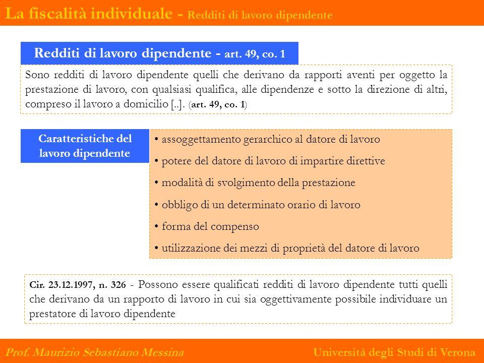 La fiscalità individuale - Redditi di lavoro dipendente