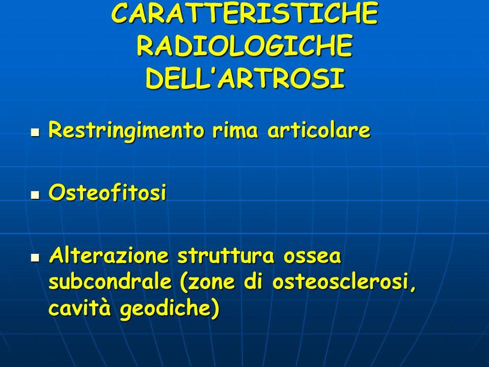 CARATTERISTICHE RADIOLOGICHE DELL'ARTROSI